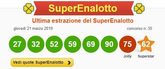 Estrazioni Superenalotto |  i numeri vincenti dell'ultimo concorso